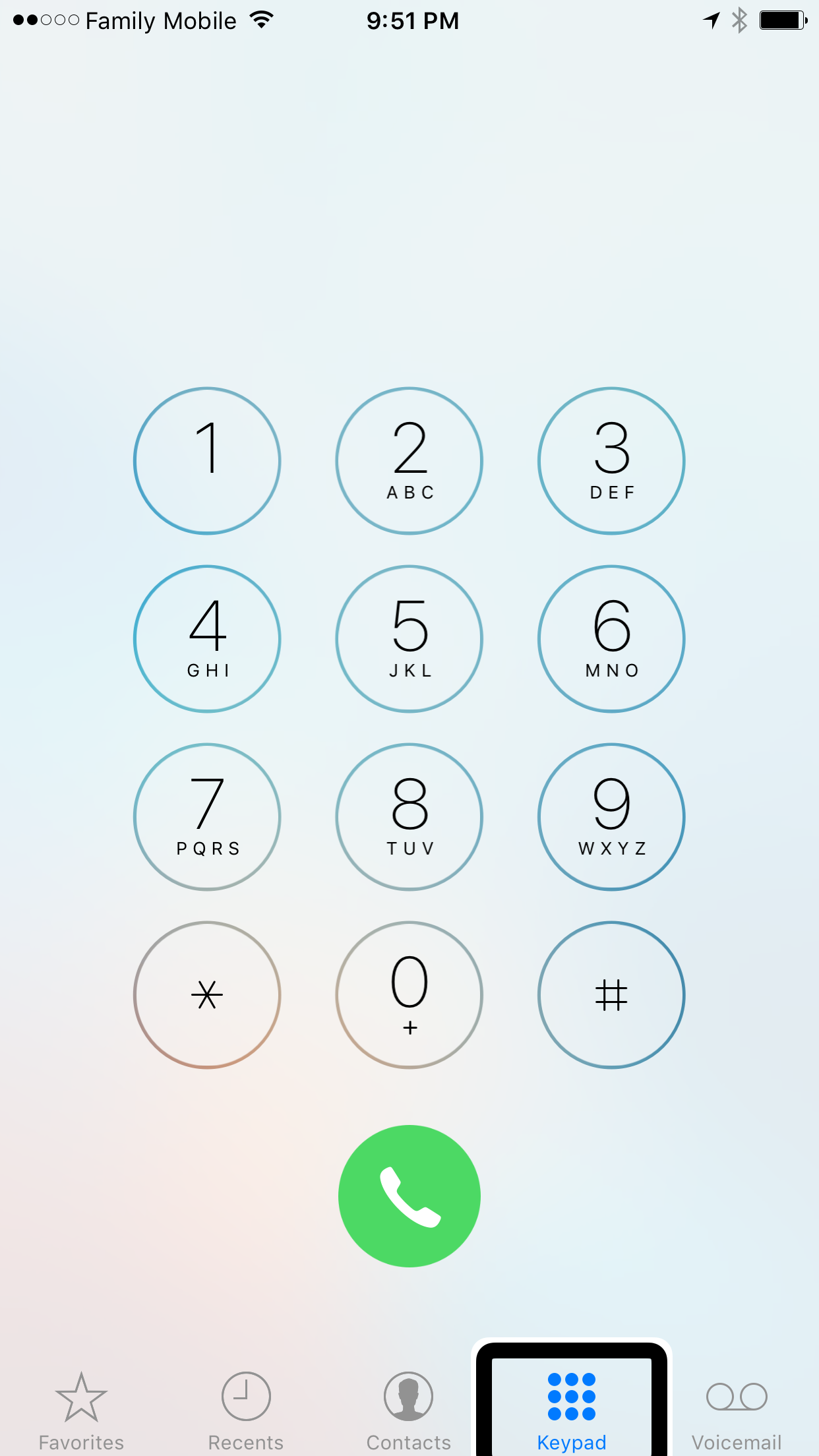 screenshot showing the IOS10 keypad for visual representation in the 10th DM podcast titled benefits of voip for business