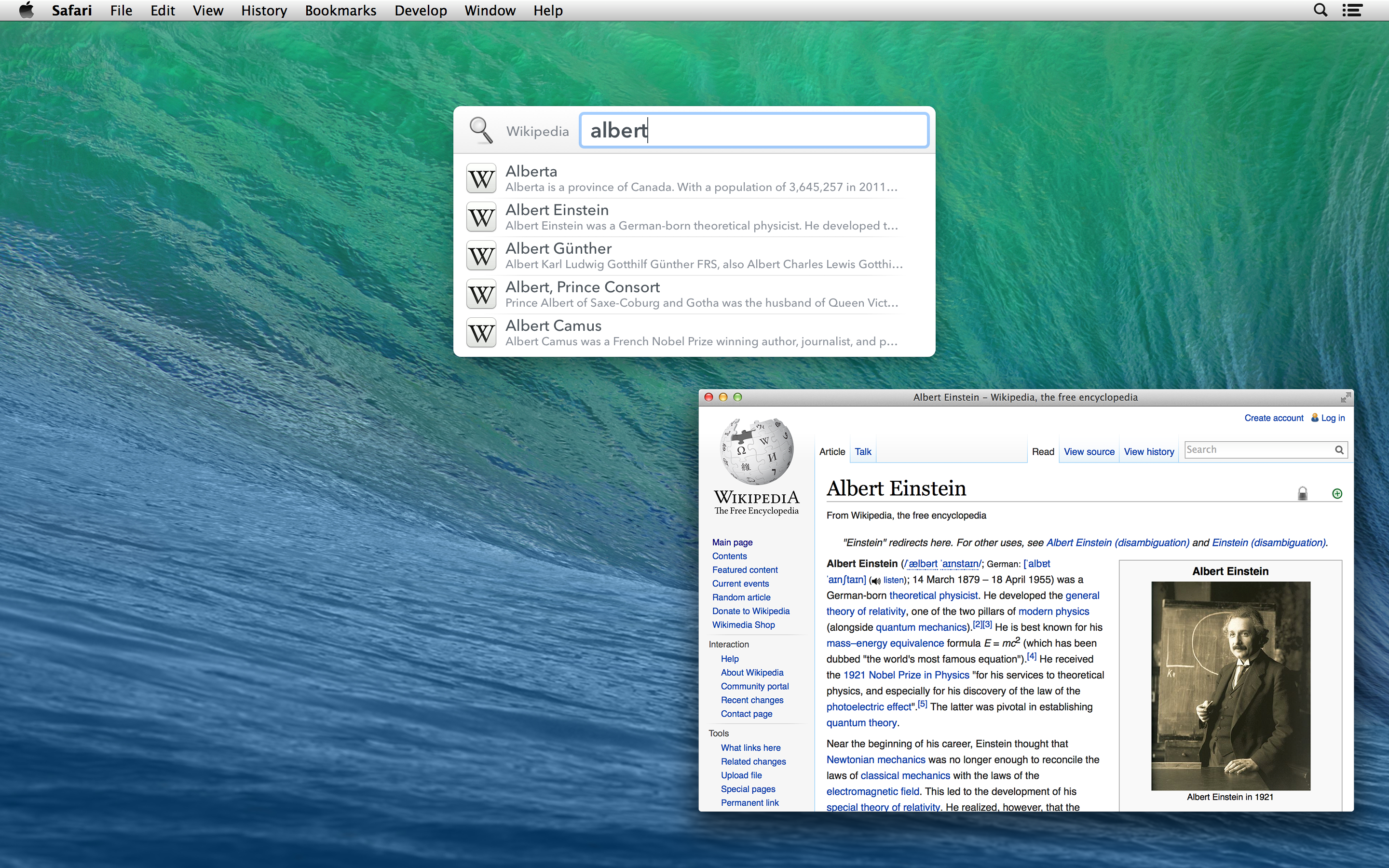 Screenshot of the LaunchBar Wikipedia Search