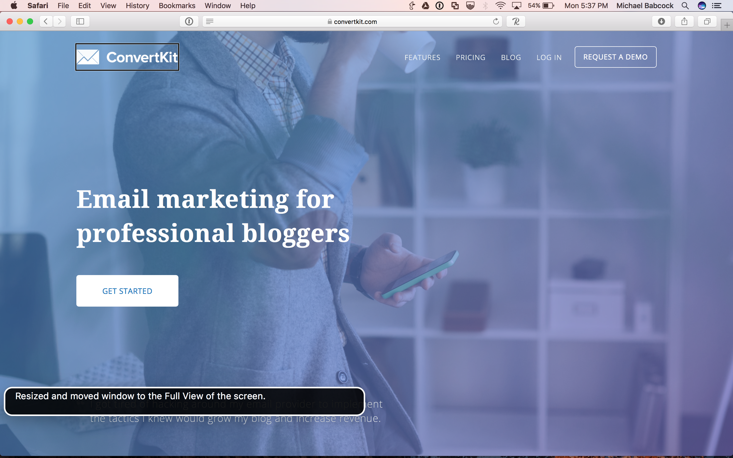 Screenshot of the convertkit homepage