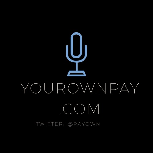 The Your Own Pay Logo on a black background, a blue Microphone shows at the top, with white letters that say, YourOwnPay.com, @payown showing on the bottom