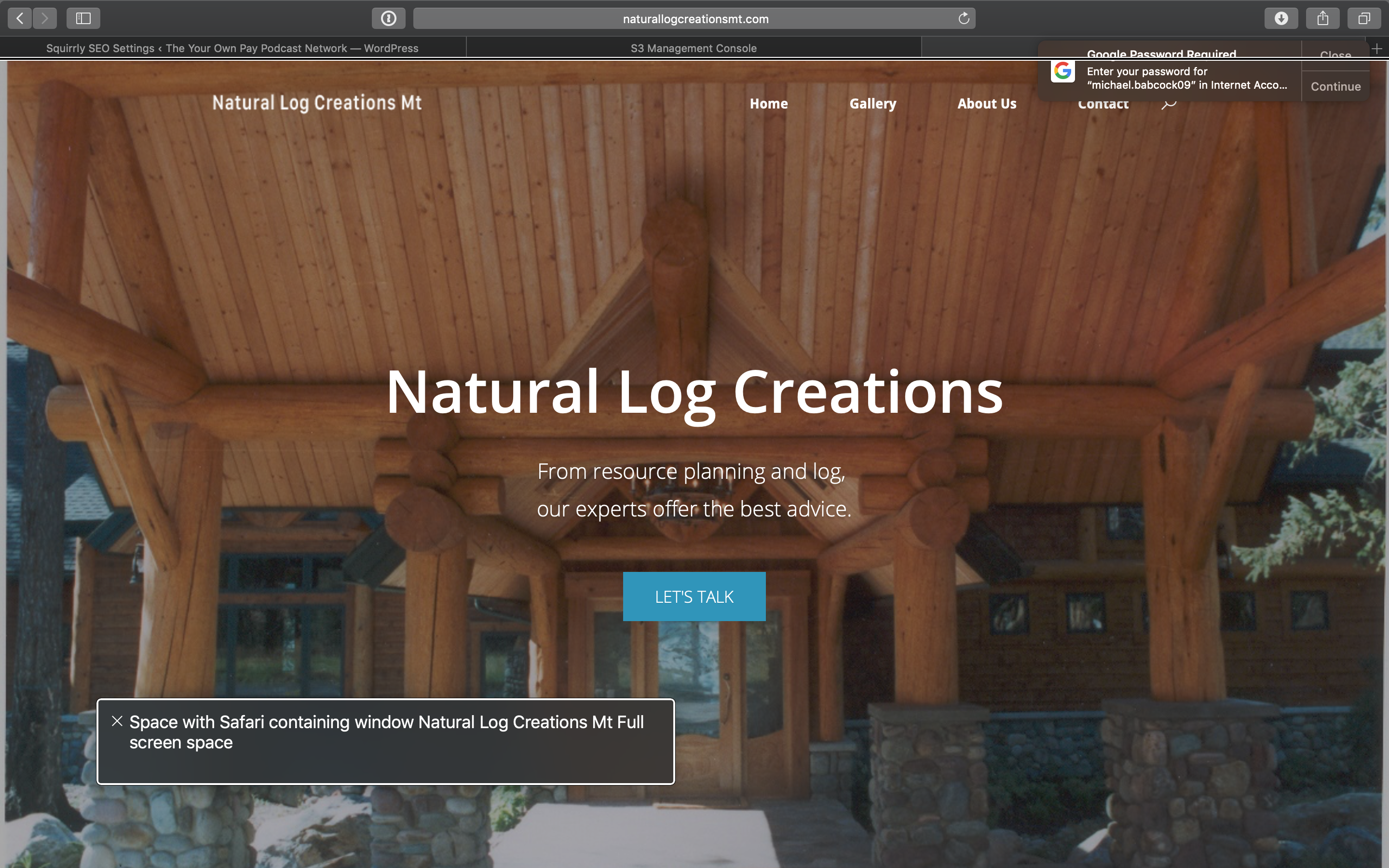 Screenshot of the homepage from Natural Log Creations Mt
