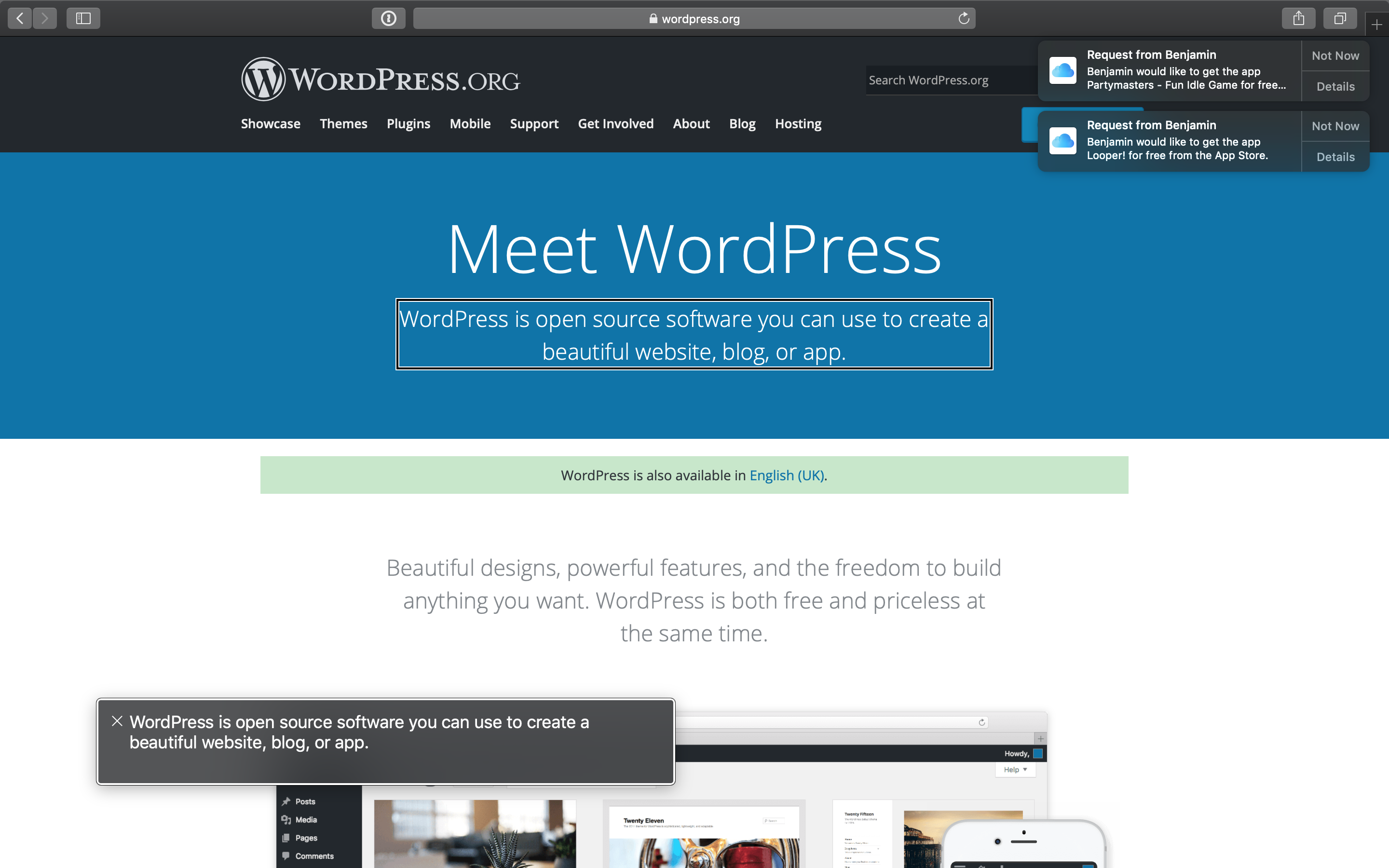 Image showing the wordpress.org homepage