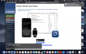This is a screenshot on Mac OS of the Drafts Homepage